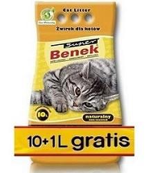 SUPER BENEK Naturalny 10+1 l GRATIS - higieniczny, bentonitowy żwirek dla kotów