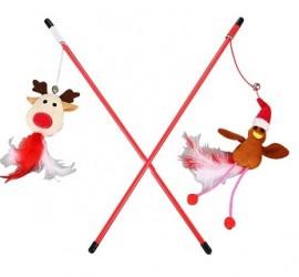 WĘDKA renifer, ptaszek - świąteczna zabawka dla kota