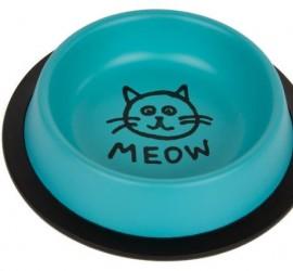 """Miska metalowa dla kota """"Meow"""" na gumie - firmy CHICO"""